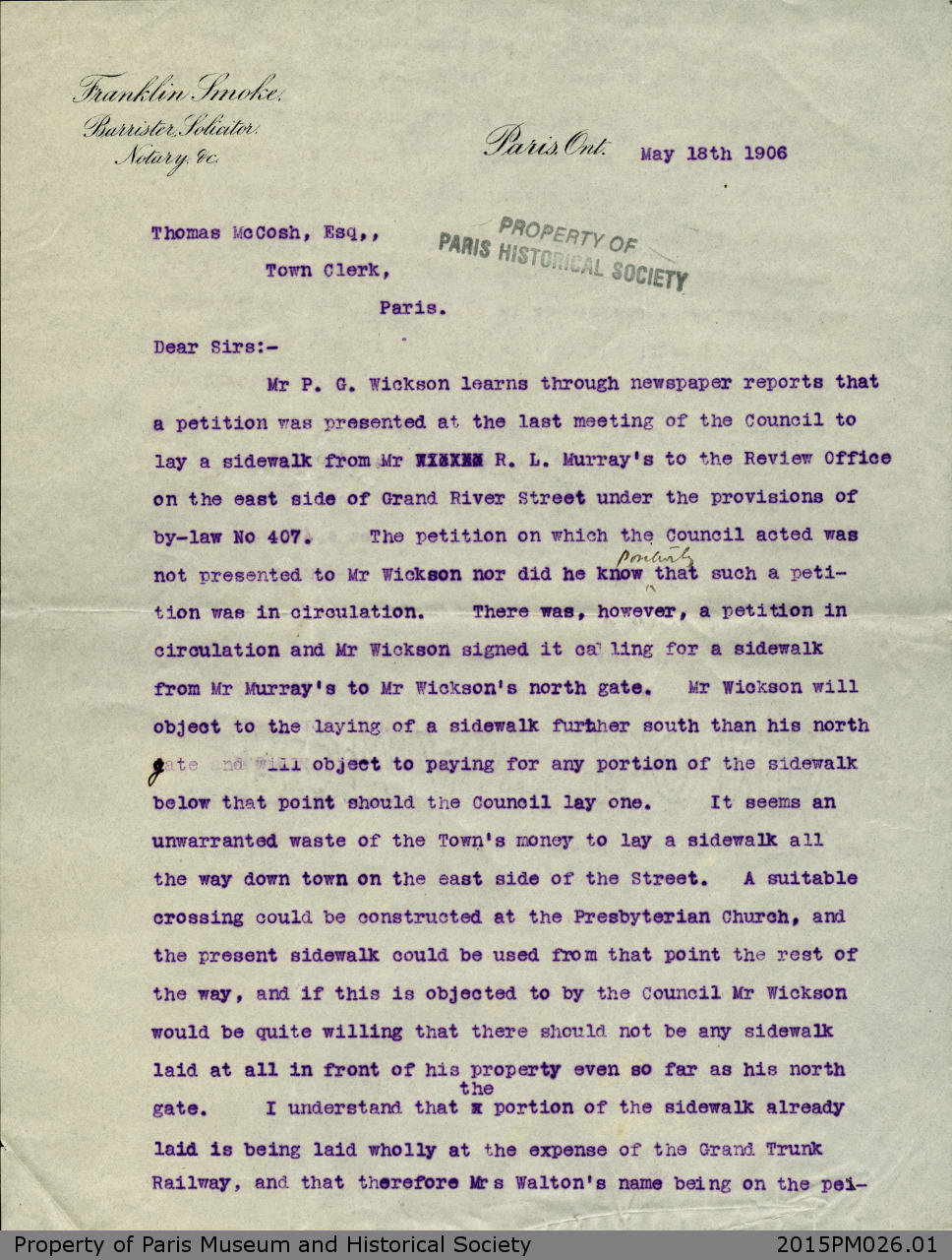 Letter from Franklin Smoke to Thomas McCosh