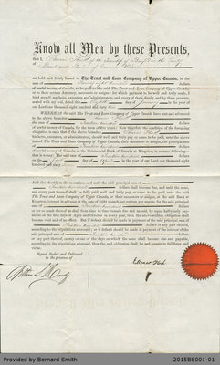 Loan Agreement Between Eleanor Flock and the Trust and Loan Company of Upper Canada