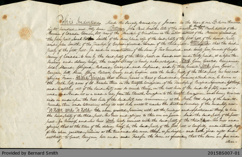 Land Deed Agreement Between John Paul Smith and John Smith