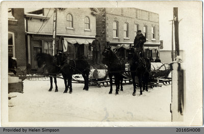 Horses Pulling Logs on Howell Block Postcard