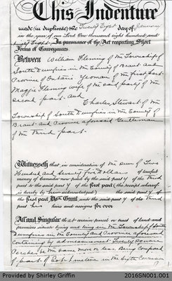 Land Deed Agreement between William and Maggie Fleming and Charles Stewart