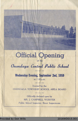 Onondaga Central Public School Official Opening Programme