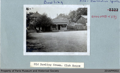 Photograph of the Original Paris Lawn Bowling Clubhouse