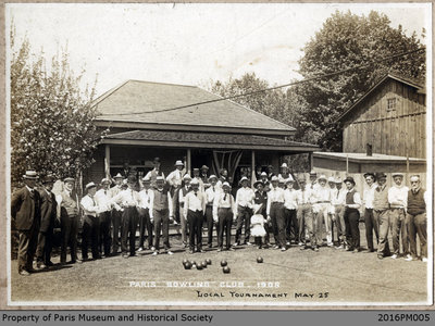 Photograph of the Paris Lawn Bowling Clubhouse During a Tournament