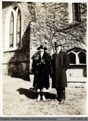 Photograph of Rose Billings and Les Clarke in front of St. James Anglican Church