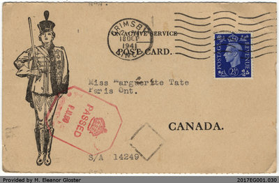 "Postcard, John ""Jack"" Chapple Tate to Margaret Tate, 18 October 1941"