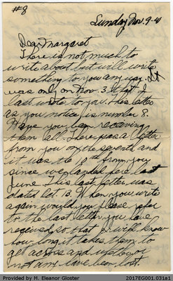 "Letter, John ""Jack"" Chapple Tate to Margaret Tate, 9 November 1941"