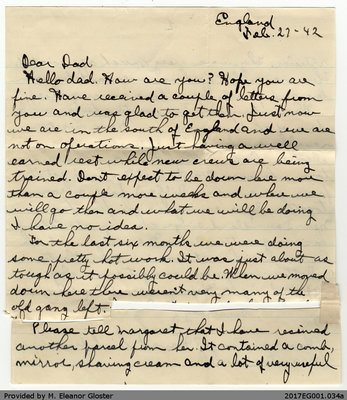 "Letter, John ""Jack"" Chapple Tate to George R. Tate, 27 February 1942"