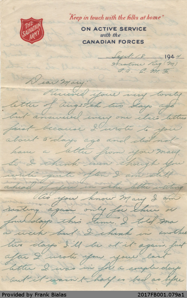 Letter, John Bialas to Mary Dancavitch, 18 September 1944