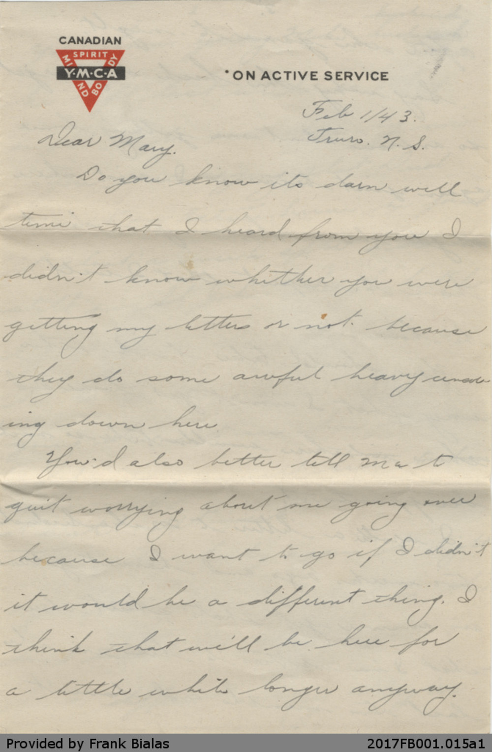 Letter, John Bialas to Mary Dancavitch, 1 February 1943