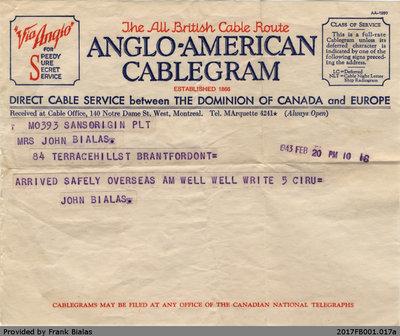 Cablegram, John Bialas to Katherine Bialas, 20 February 1943