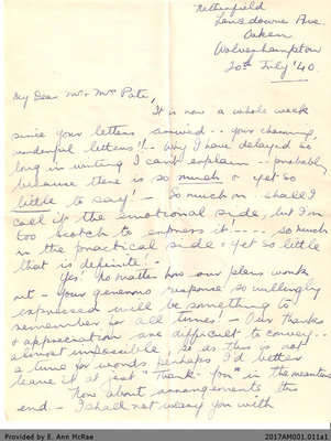 Letter, Margaret Jones to Andrew and Mary Pate, 20 July 1940
