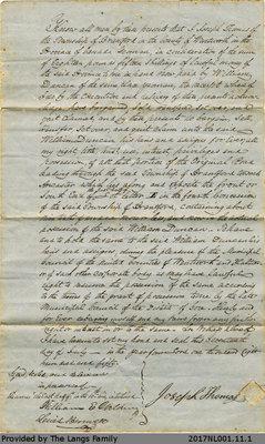 Quitclaim Agreement Between Joseph Thomas and William Duncan