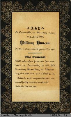 Death Notice William Duncan