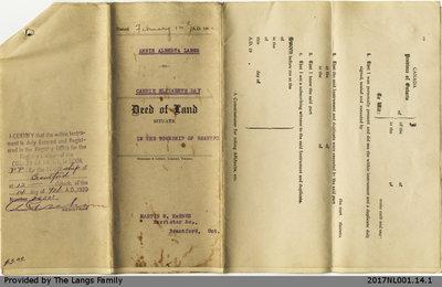 Deed of Land between Annie Alberta Langs and Carrie Elizabeth Day