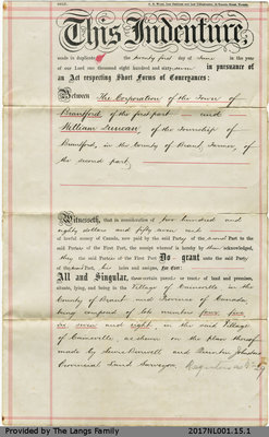 Land Deed between The Corporation of the Town of Brantford and William Duncan