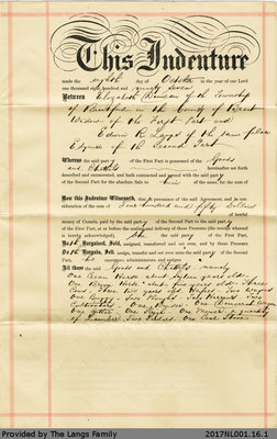 Bill of Sale Agreement between Elizabeth Duncan and Edwin Langs