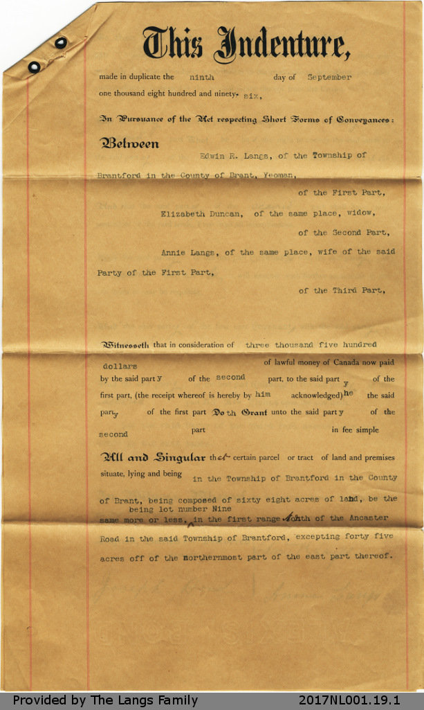 Deed of Land Situate between Elizabeth Duncan, Edwin Langs and Annie Langs