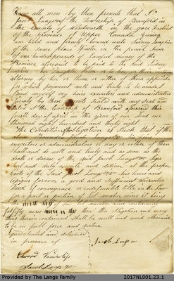 Land Transfer Agreement between Jacob Langs and Sidney Lampkins