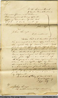 Thomas William et al. vs. John Langs Document of Declaration