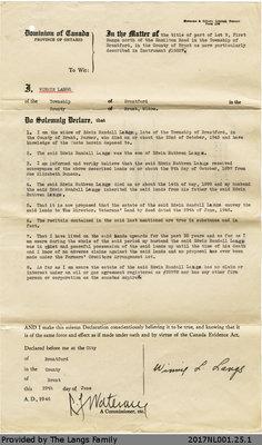 Statutory Declaration from Winnie Langs