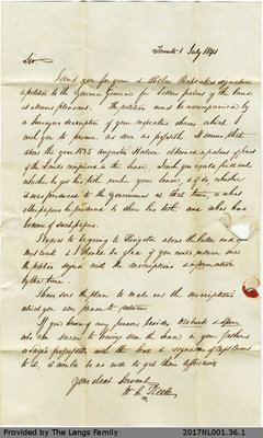 Letter from W.B. Keele to John Langs