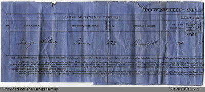 Property Tax Slip to Wallace Langs