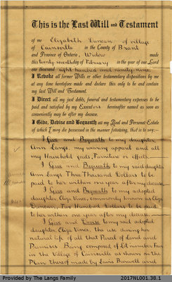Last Will and Testament of Elizabeth Duncan