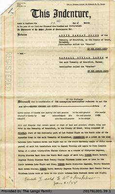 Deed of Land Situate between Annie Ramsay Brown and Randall Duncan Langs