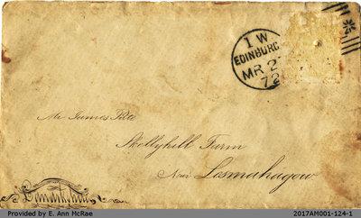 1872 Envelope Addressed to James Pate