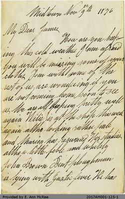 Letter from Agnes Pate to James Pate, Nov 9, 1876