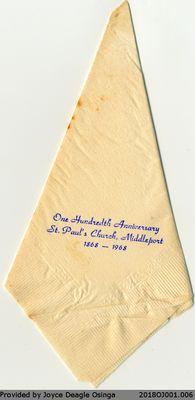 St. Paul's Church Hundredth Anniversary Napkin