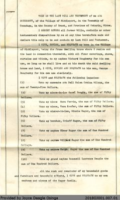 Last Will and Testament of Ada Dougherty