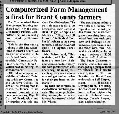 Conputerized Farm Management a First for Brant County farmers
