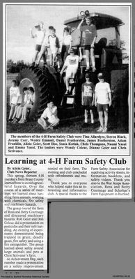 Learning at 4-H Farm Safety Club