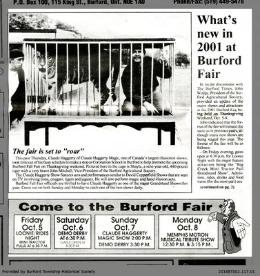 What's new in 2001 at Burford Fair