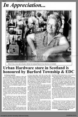 Urban Hardware store in Scotland is honoured by Burford Township & EDC