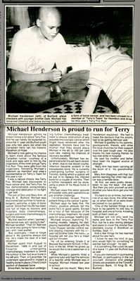 Michael Henderson is proud to run for Terry