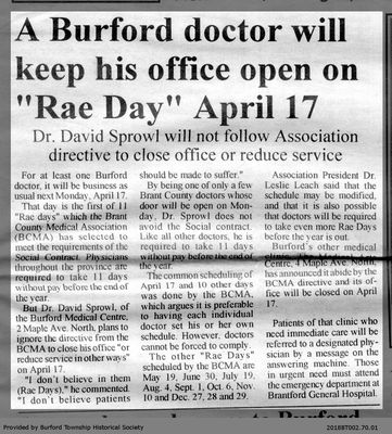 "A Burford doctor will keep his office open on ""Rae Day"" April 17"