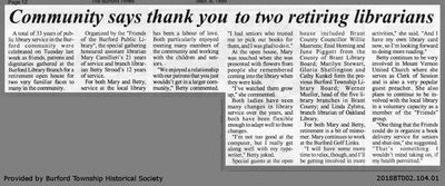 Community says thank you to two retiring librarian