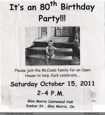 Advertisement for Jack McComb's 80th Birthday
