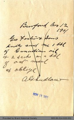 Letter to George Foster and Sons from A. G. Ludlow