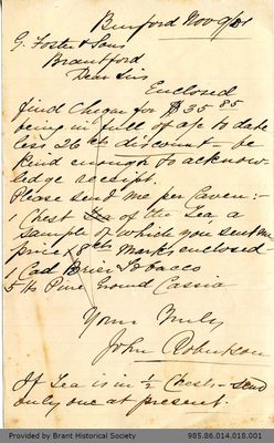 Letter to George Foster and Sons from John Robertson