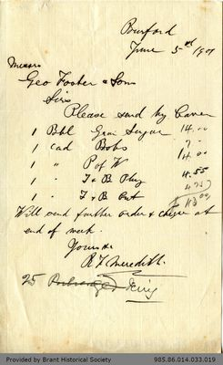 Letter to George Foster and Sons from Richard F. Meredith