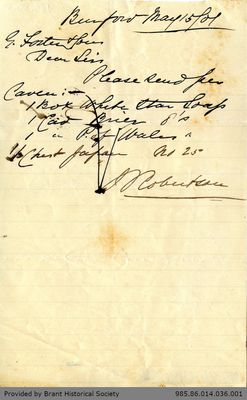 Letter to George Foster and Sons from J. Robertson