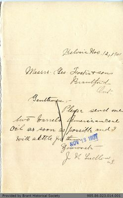 Letter to George Foster and Sons from J. N. Ludlow