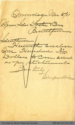 Letter to George Foster and Sons from the Simpson Brothers