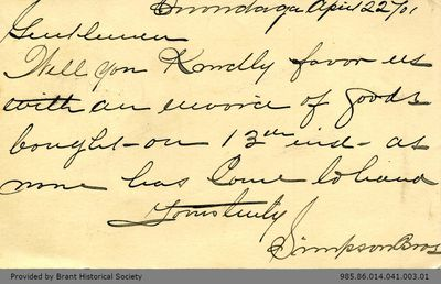 Postcard Letter to George Foster and Sons from the Simpson Brothers