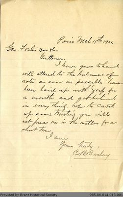 Letter to George Foster and Sons from C. H. Birley