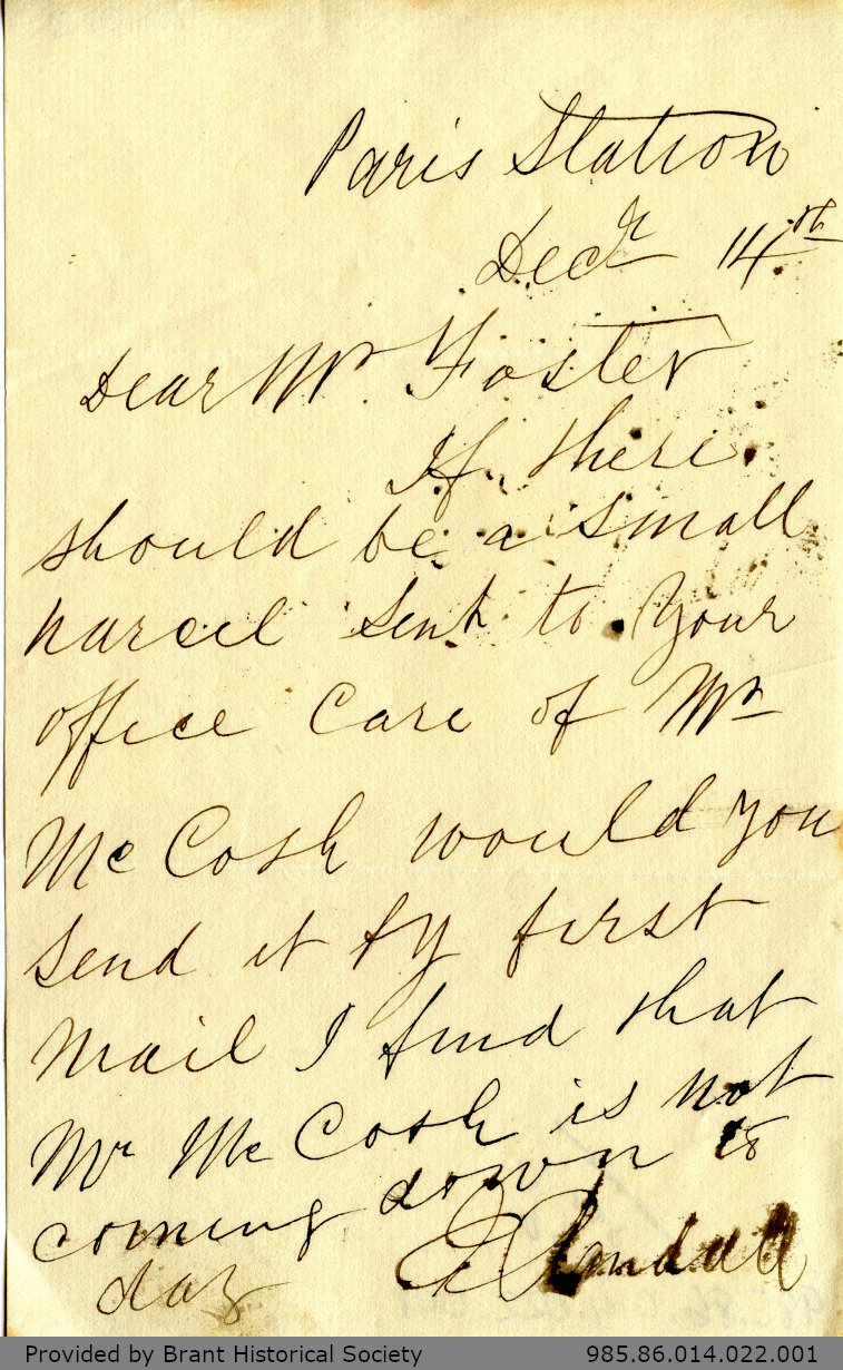 Letter to George Foster and Sons from J. Hendell